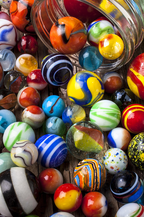 Single Colored Marbles : Jar of marbles photograph by garry gay