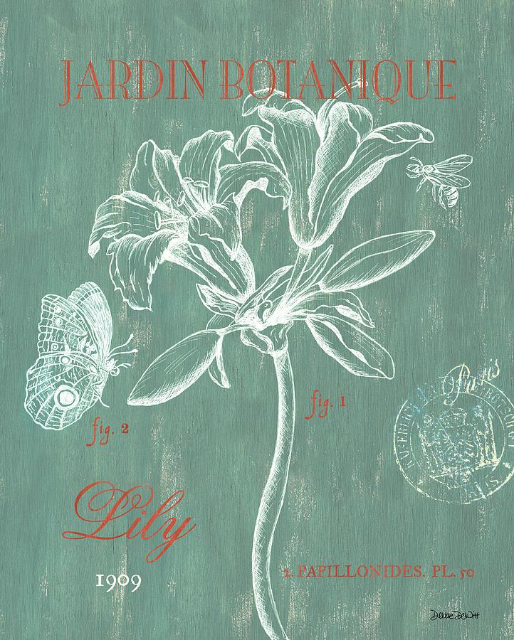 Floral Drawing - Jardin Botanique Aqua by Debbie DeWitt