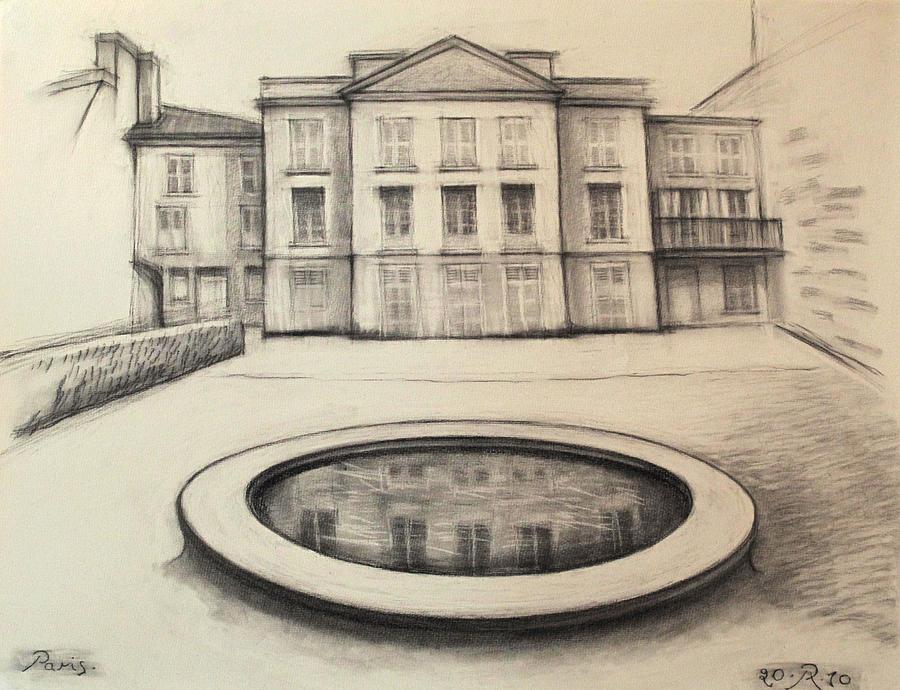 Charcoal Drawing - Jardin des Musee de Montmartre Paris        by Raimonda Jatkeviciute-Kasparaviciene