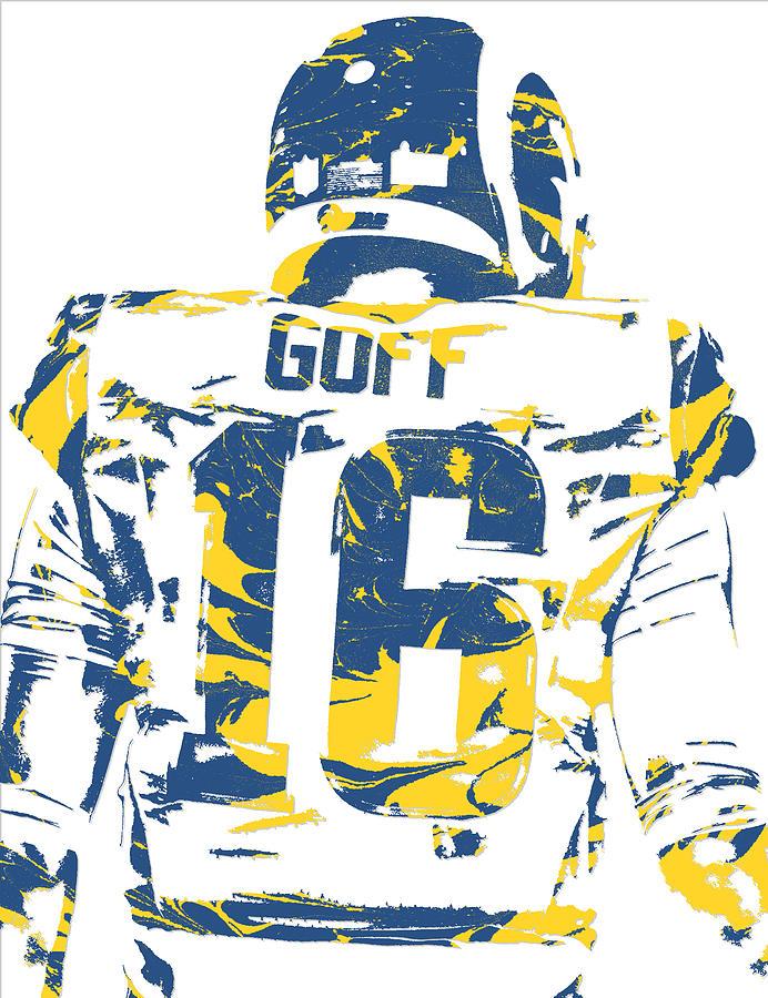 Rams Mixed Media - Jared Goff Los Angeles Rams Pixel Art 2 by Joe Hamilton