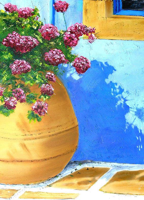 Landscape Painting - Jarre  Leros by Lesuisse Viviane