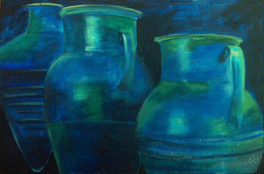 Jarres bleues de Siphnos Painting by Lesuisse Viviane