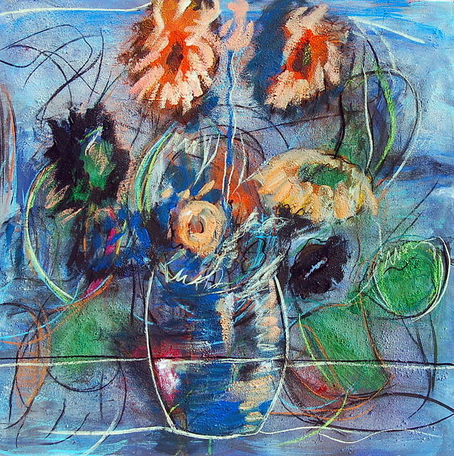 Flowers Painting - jarron con flores V by Soledad  Fernandez
