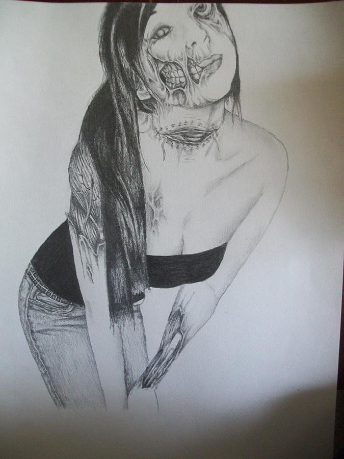 Portrait Drawing - Jasmine Zombie by Neil Hugley