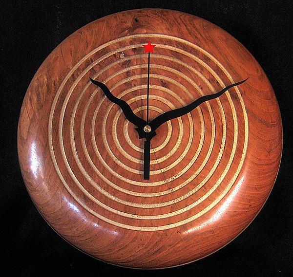 Jatoba Wall Clock Sculpture by Chuck Turigliatto