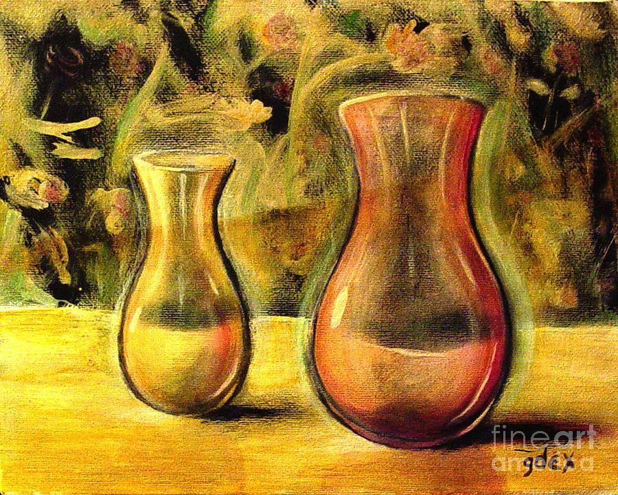 Jaune et Magenta Painting by Gerald Dextraze