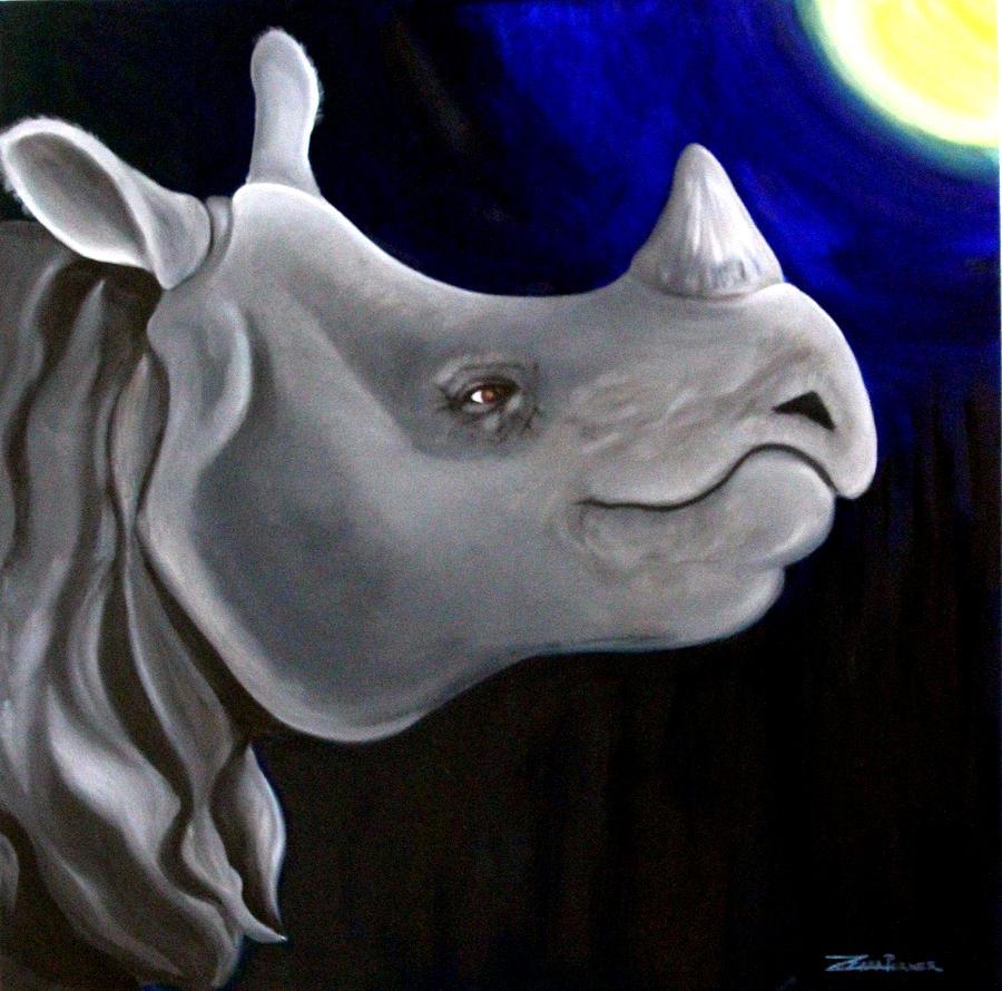 Javan Rhino Painting by Zuzana Perner