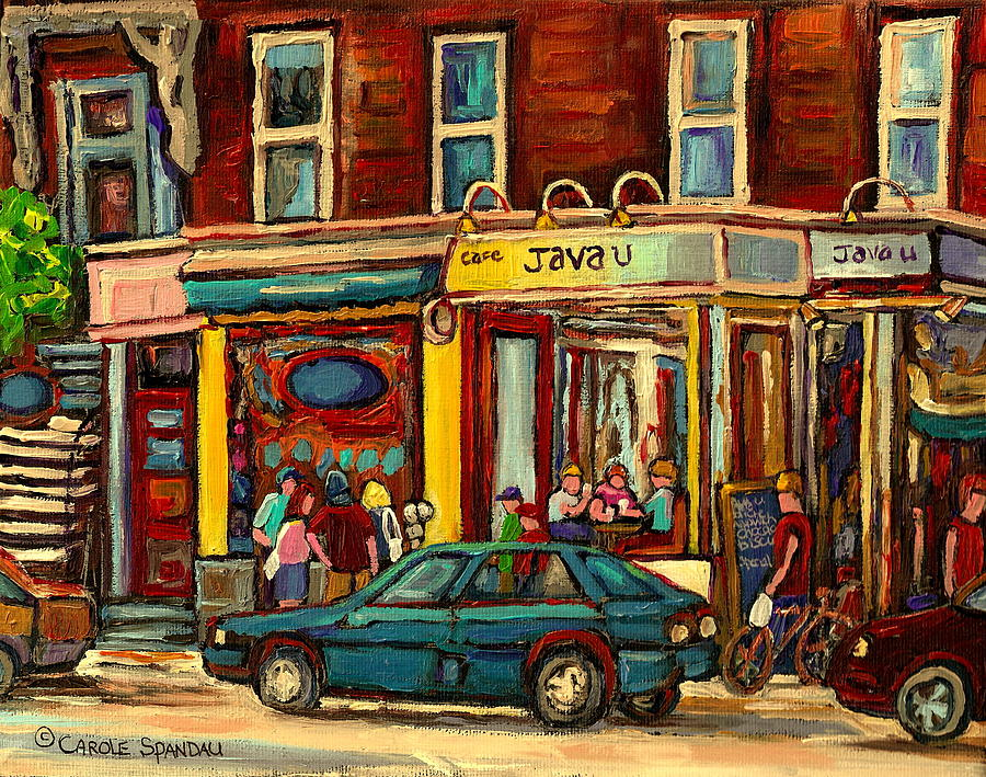 Montreal Painting - Java U Coffee Shop Montreal Painting By Streetscene Specialist Artist Carole Spandau by Carole Spandau