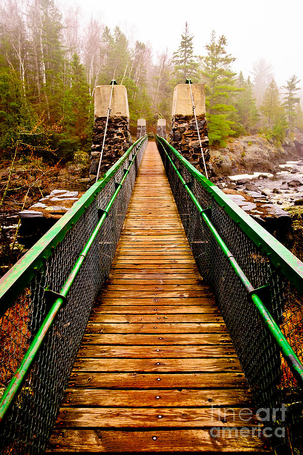 Jay Cooke Photograph - Jay Cooke Swinging Bridge In Fog by Ever-Curious Photography
