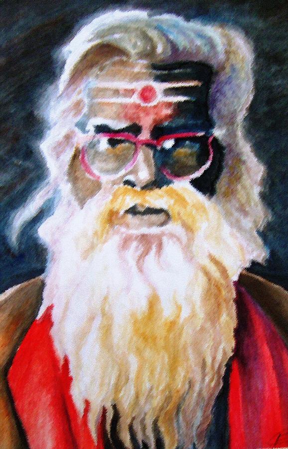 Sadhu Painting - Jay Ganesh Baba by Claudio  Fiori