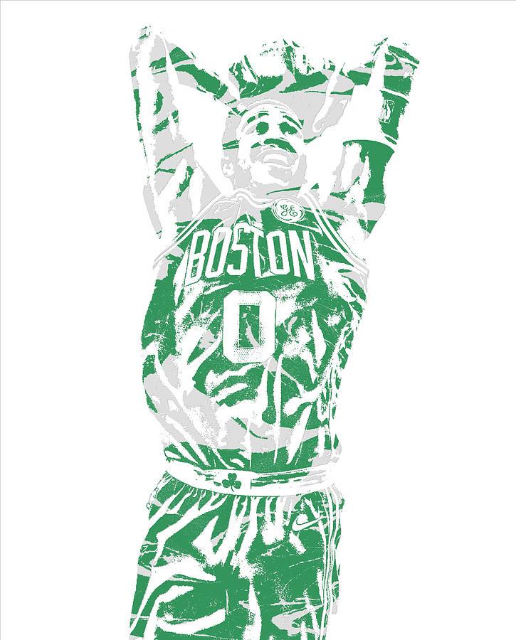 Celtics Mixed Media - Jayson Tatum Boston Celtics Pixel Art 12 by Joe Hamilton