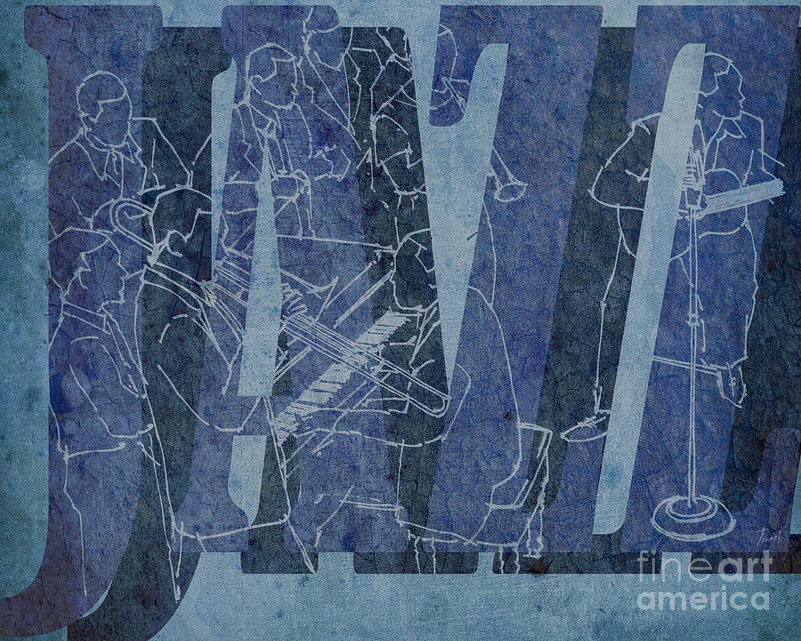 Blue Drawing - Jazz 34 Duke Ellington Blue by Drawspots Illustrations