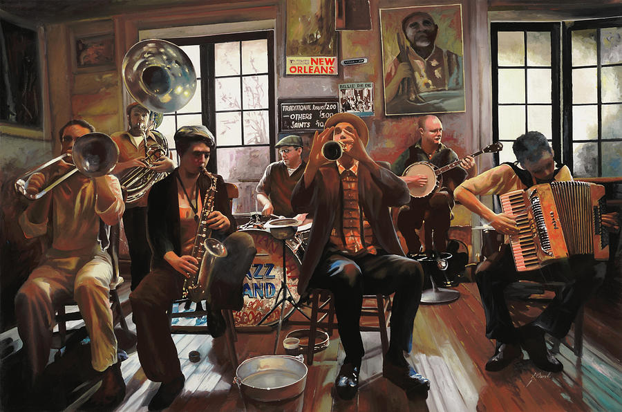 Jazz Painting - Jazz A 7 by Guido Borelli