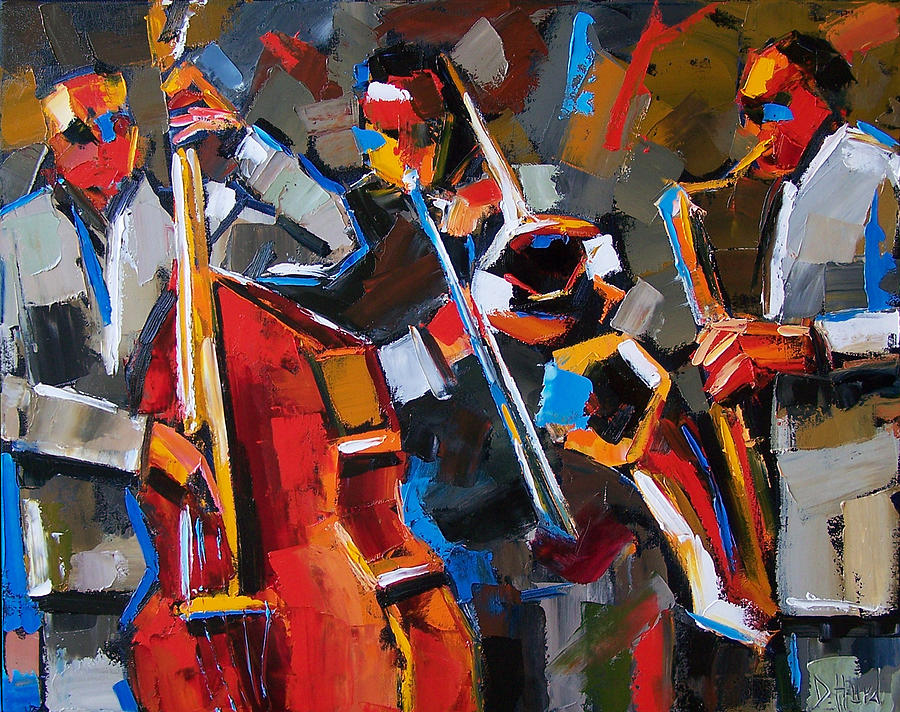 Jazz Painting - Jazz Angles by Debra Hurd