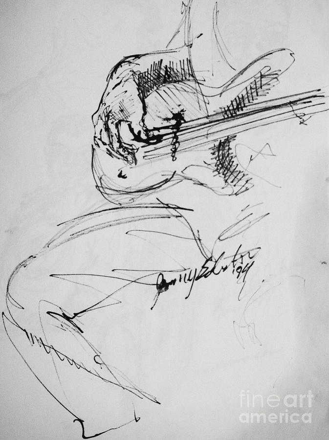 Jazz Bass Guitarist Drawing Drawing - Jazz Bass Guitarist by Jamey Balester