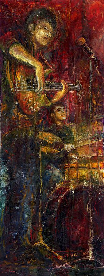Jazz Painting - Jazz Bass Guitarist by Yuriy  Shevchuk