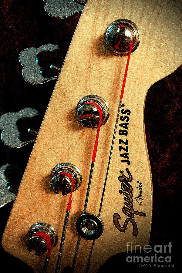 Still Life Digital Art - Jazz Bass Headstock by Todd A Blanchard