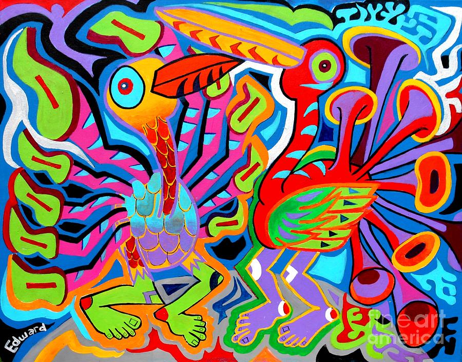 Birds Painting - Jazz Birds by Ed Tajchman