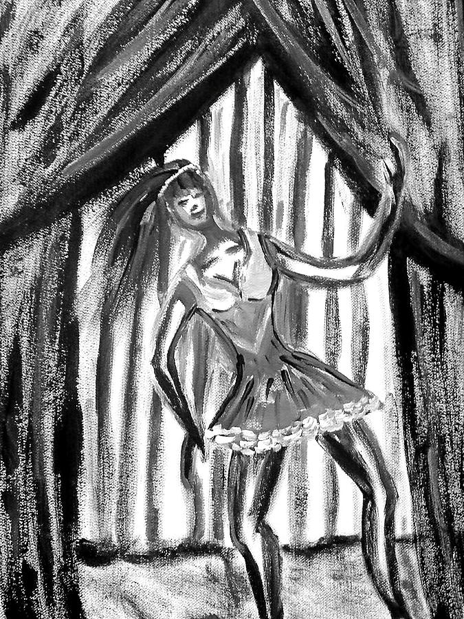 Dance Painting - Jazz Dancer In Black  And White by BJ Abrams