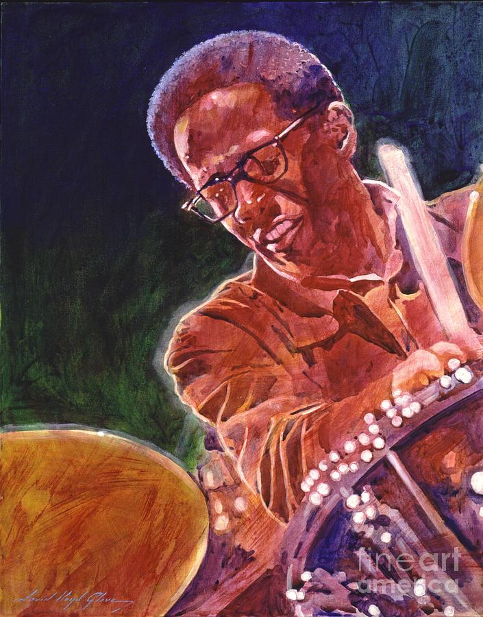 Jazz Painting - Jazz Drummer Brian Blades by David Lloyd Glover