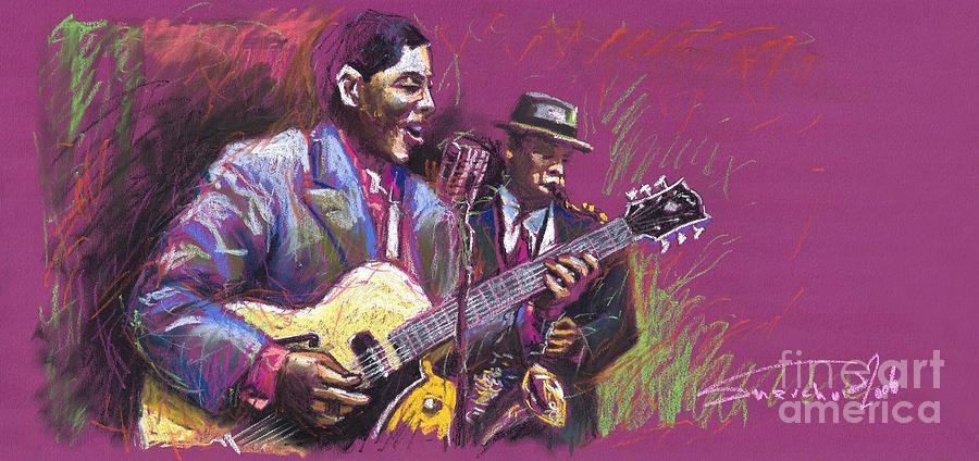 Jazz Painting - Jazz Guitarist Duet by Yuriy Shevchuk