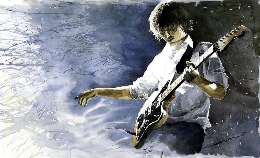 Figurativ Painting - Jazz Guitarist Last Accord by Yuriy Shevchuk