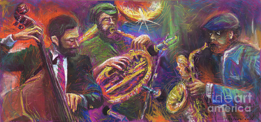 Jazz Painting - Jazz Jazzband Trio by Yuriy  Shevchuk