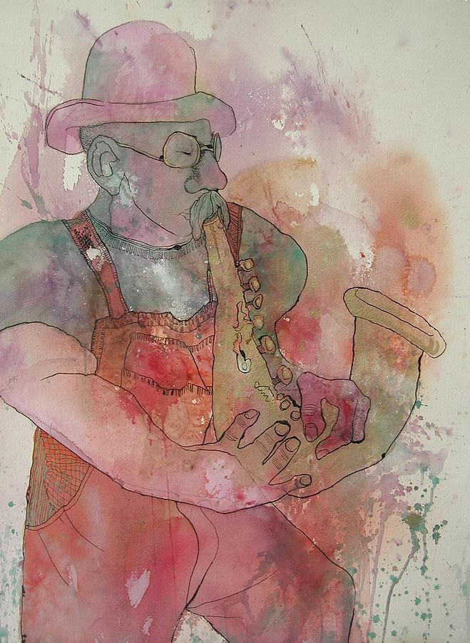 Man Playing Sax Painting - Jazz Man by Wendy Hill