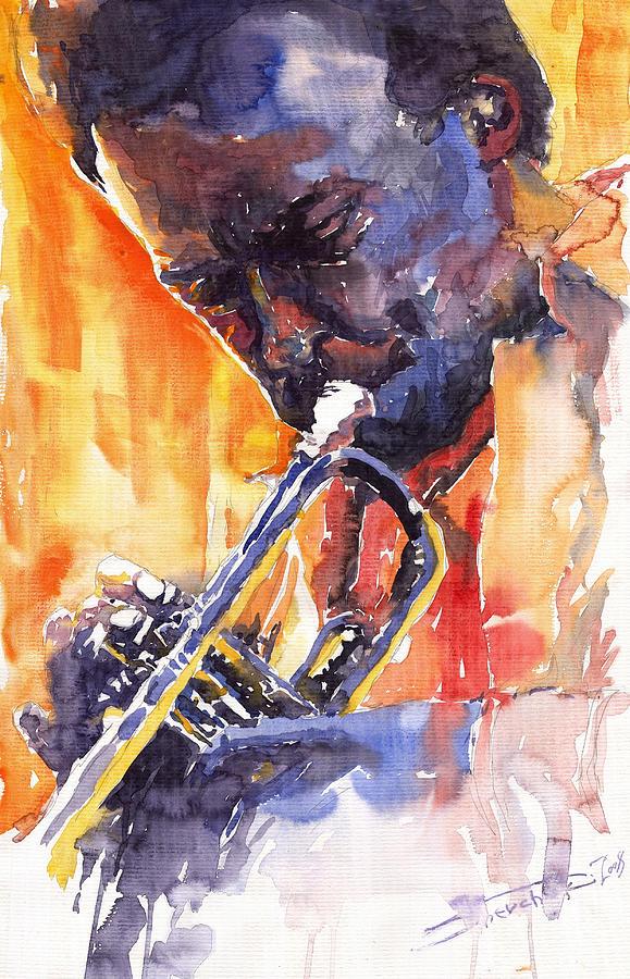 Jazz Painting - Jazz Miles Davis 9 Red by Yuriy Shevchuk