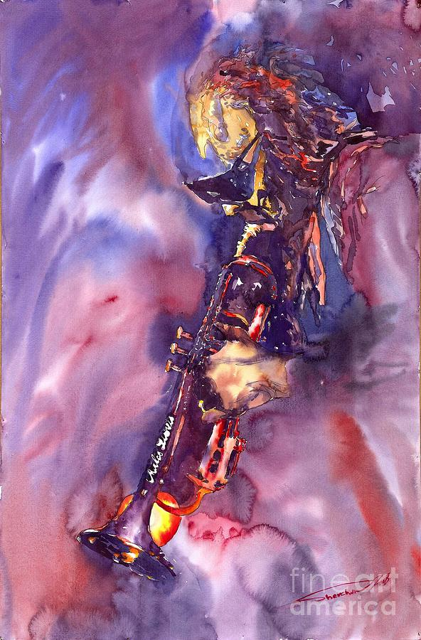 Davis Figurative Jazz Miles Music Musiciant Trumpeter Watercolor Watercolour Painting - Jazz Miles Davis Electric 3 by Yuriy  Shevchuk