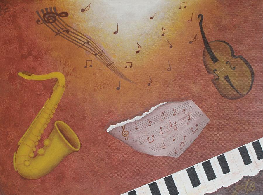 Jazz Music Painting by Georgeta  Blanaru