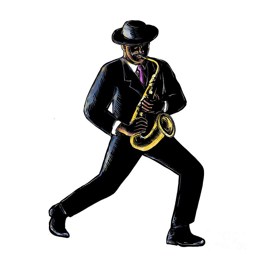 Scratchboard Digital Art - Jazz Musician Playing Saxophone Scratchboard by Aloysius Patrimonio