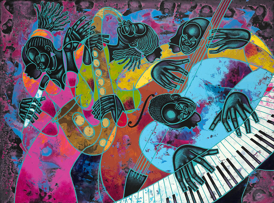 Figurative Painting - Jazz On Ogontz Ave. by Larry Poncho Brown