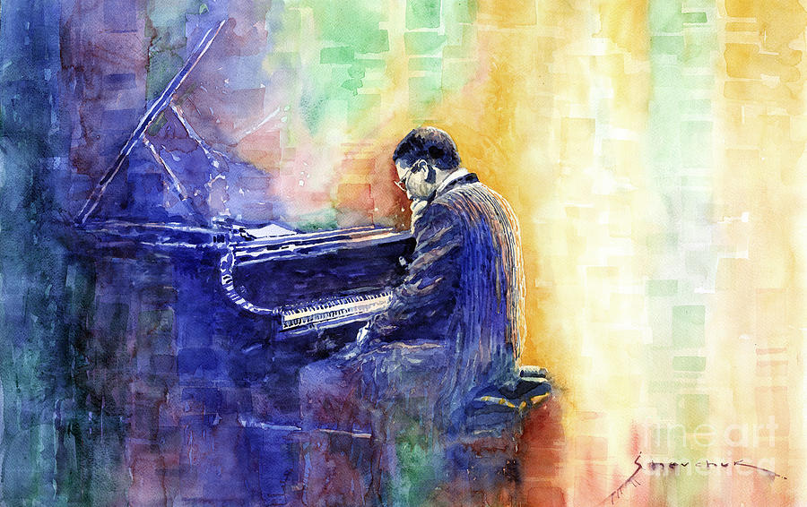 Watercolor Painting - Jazz Pianist Herbie Hancock  by Yuriy Shevchuk