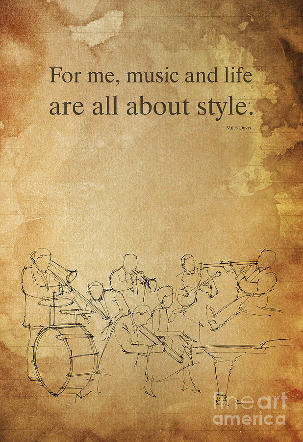 Jazz Drawing - Jazz Quote And Jazz Band by Drawspots Illustrations