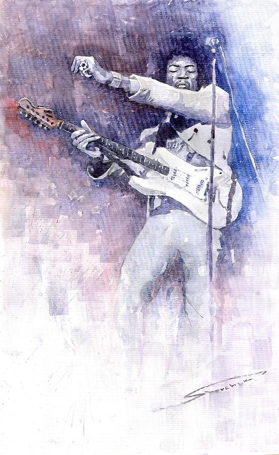 Watercolor Painting - Jazz Rock Jimi Hendrix 07 by Yuriy Shevchuk