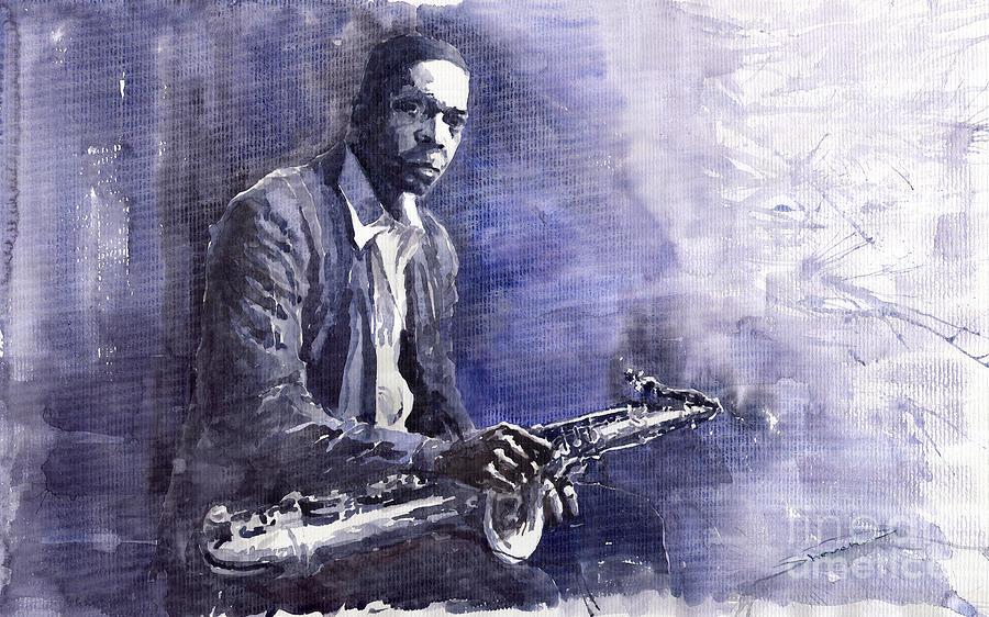 Figurative Painting - Jazz Saxophonist John Coltrane 03 by Yuriy  Shevchuk