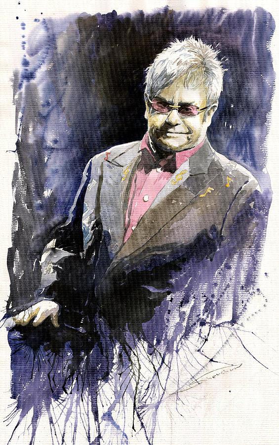 Watercolour Painting - Jazz Sir Elton John by Yuriy Shevchuk