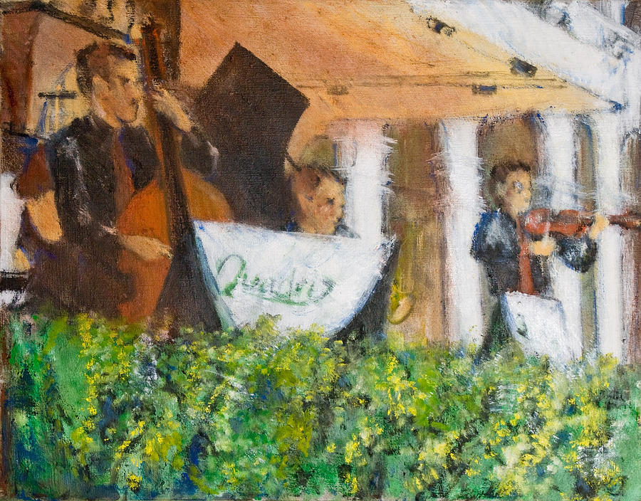 Italy Painting - Jazz Trio Outdoor Cafe by William  Glass