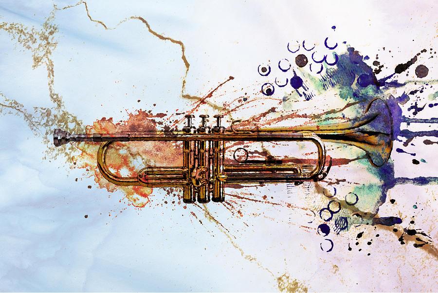 Jazz Digital Art - Jazz Trumpet by David Ridley