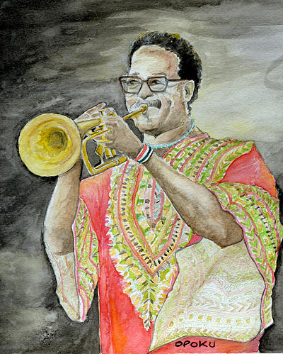 Jazz Trumpeter Painting by Opoku Acheampong
