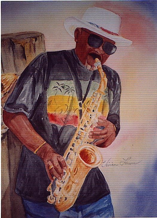 Musician Painting - Jazzin On The Boardwalk by Vivian Larson