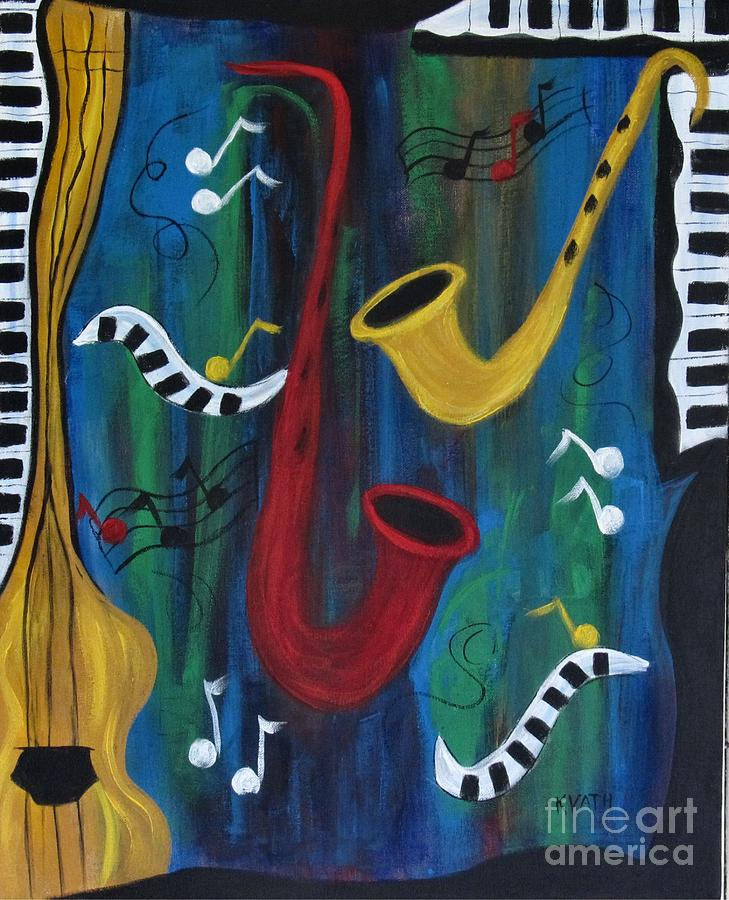 Music Painting - Jazzing It Up by Karen Day-Vath