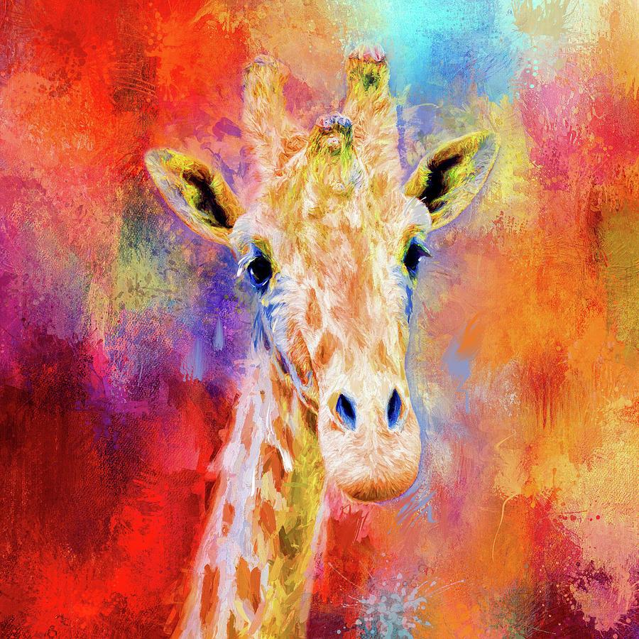 jazzy giraffe colorful animal art by jai johnson mixed media by jai