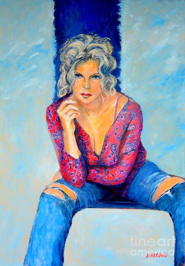 Jeans Ii Original Oilpainting Painting - Jeans II by Dagmar Helbig