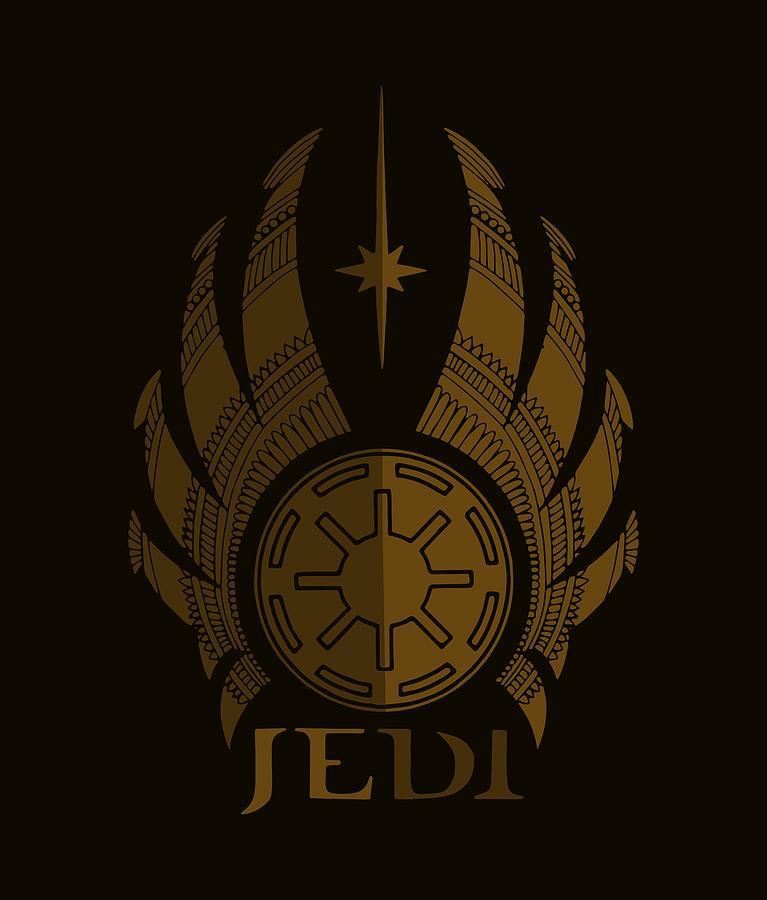Jedi Mixed Media - Jedi Symbol - Star Wars Art, Brown by Studio Grafiikka
