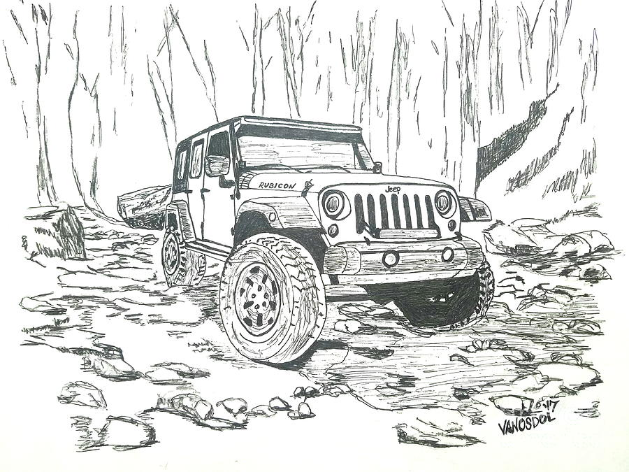 jeep rubicon gel pen sketch drawing by scott d van osdol