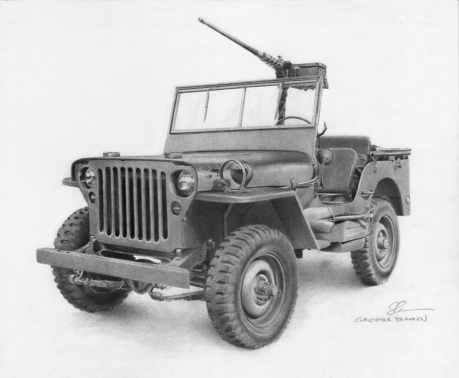 Jeep Drawing - Jeep Willys by Christopher Bracken