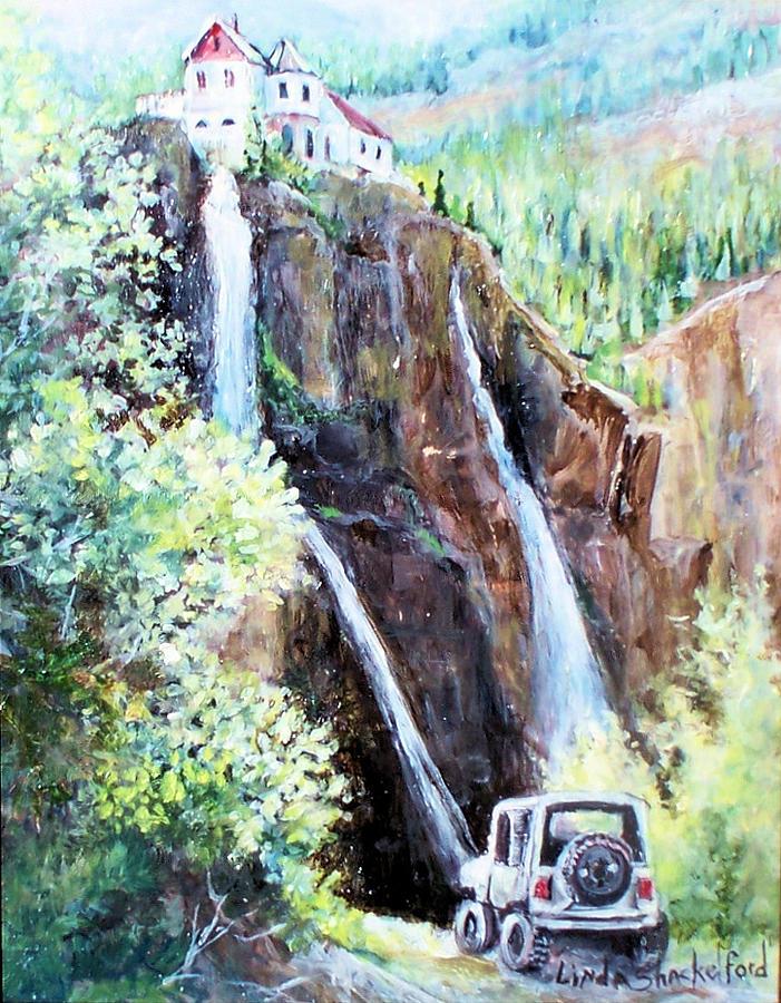 Waterfall Painting - Jeeping At Bridal Falls  by Linda Shackelford