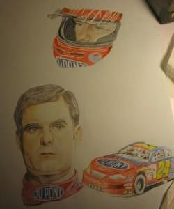 Jeff Gordon Drawing - Jeff Gordon Work In Progess Private Collection  by Suzan Tisdale